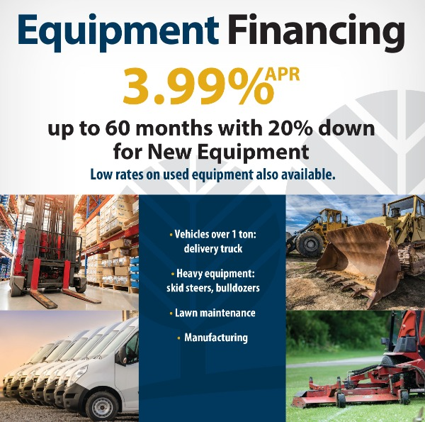 Business Equipment Financing 3.99%APR up to 60 months with 20% down for new equipment